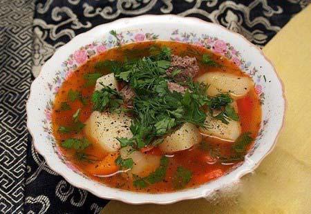 Суп на бульоне из говяжьего языка