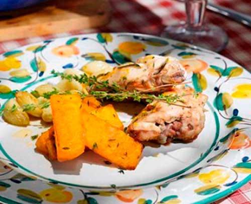 Кролик с тыквой в апельсиновом соусе