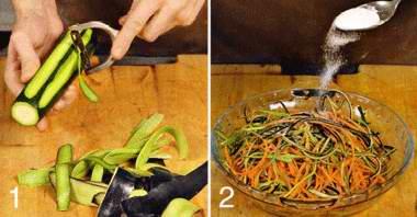Форель с овощными спагетти